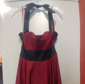 Hell Bunny Dresses - Hell Bunny red black polka dot halter dress M
